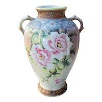 Antique Imperial Nippon Japan hand painted porcelain ceramic vase urn eared handles rose flower pattern
