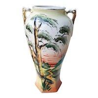 Vintage Royal Nishiki Japan large hand painted bonsai tree porcelain ceramic vase urn with eared handles