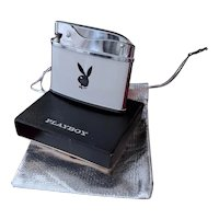 Vintage mid century white and black enamel chrome Playboy lighter, Japan, near mint condition, original outer box, unused, unsold, old stock