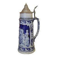 Antique German beer stein tankard mug, JW Remy, blue salt glaze stoneware, 1-1/2 liter, Octoberfest, #876, Germany, Das Kellerfest
