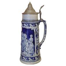 Antique German beer stein tankard mug, JW Remy, blue salt glaze stoneware, 1-1/2 liter, Octoberfest, #876, Germany, Das Kellerfest