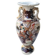 Vintage hand painted two sided Japanese Satsuma earred urn vase flowers and geisha ceramic, pottery, Asian, Oriental, Japan, moriage