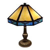 Antique vintage Art Deco 1920s blue and gold American eagle slag glass panel lamp, NOT FREE SHIPPING