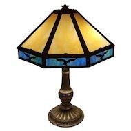 OHIO PICKUP Antique vintage Art Deco 1920s blue and gold American eagle slag glass panel lamp