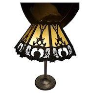OHIO PICKUP Antique vintage Art Deco 1920s white and gold ornate filigree fret work slag glass panel lamp