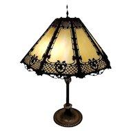 OHIO PICKUP Antique vintage Art Deco 1920s gold ornate filigree fret work slag glass panel lamp