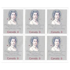 Vintage 1973 Canada 8 cents SHEET of 6 stamps, Queen Elizabeth, Commonwealth Heads of Government Meeting, postage stamp, Canadian