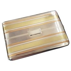 5 ounce Vintage Art Deco signed Napier sterling silver and 14k rose and yellow gold cigarette case, tobacciana, smoking, business card case