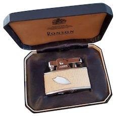 English British cigarette case lighter Ronson Pyrophoric Cadet chrome leather vintage Art Deco, new old stock, nos, tobacciana, smoking