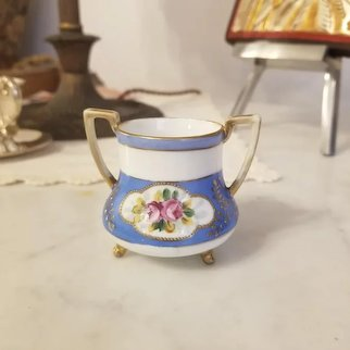 Antique signed Nippon Morimura Bros porcelain blue and white toothpick or match holder, double handle eared and tri footed, cup, trinket