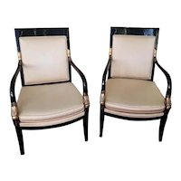Vintage mid century modern cream upholstered black lacquer gold dauphine Asian style chairs,  Lewittes, of North Carolina, NOT FREE SHIPPING