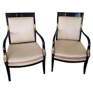 Pair of vintage mid century modern cream upholstered black lacquer gold dauphine Asian style chairs, signed Lewittes, North of Carolina