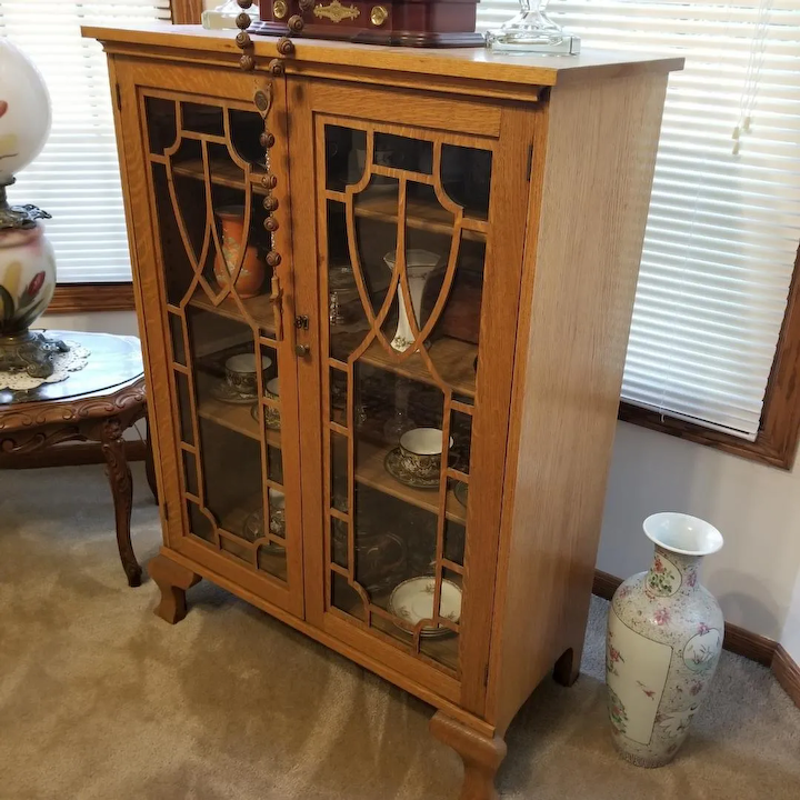 Antique China Hutch >> Vintage Art Deco Blonde Oak Wood China Cabinet China Hutch Curio Cabinet Cupboard Display Case Not Free Shipping