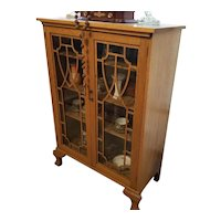 Vintage Art Deco blonde oak wood china cabinet, china hutch, curio cabinet, cupboard, display case, NOT FREE SHIPPING