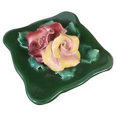 Vintage Art Deco Johannes Brahm, California pottery, ceramic, covered dish, flowers, jewelry box, roses, trinket box, cigarette box