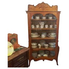 Antique Edwardian ornate oak china cabinet, china hutch, curved glass sides, curio cabinet, cupboard, display case, NOT FREE SHIPPING
