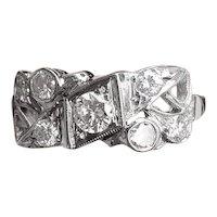 Mid century vintage Retro Moderne 14k white gold .60 carat diamond wedding band, wedding ring, engagement ring, anniversary ring, size 7.5