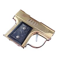 Vintage mid century brass gun pistol lighter, Japan, Continental NY New York