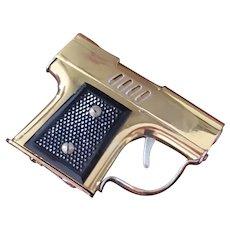 Vintage mid century brass gun pistol lighter, Japan, Continental NY New York