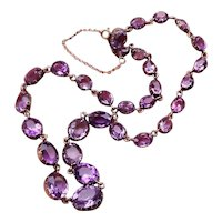 Antique Victorian 10k gold graduated collet set 36 ct amethyst riviere necklace, Georgian Revival, late Victorian, late 1800s