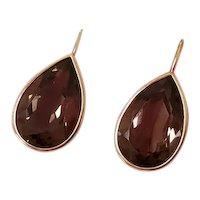 Modern 14k gold pear shaped tear drop bezel set chocolate 12 carats smoky quartz pierced earrings
