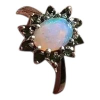 Vintage mid century estate 14k white gold opal and green garnet tsavorite halo ring, size 6