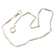 14-1/2 inch vintage Art Deco two tone yellow and white gold filled pocket watch chain, bracelet, choker necklace, signed JF Sturdy & Sons