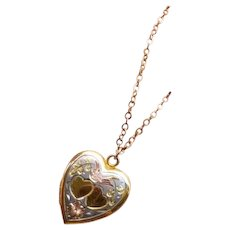 Vintage gold filled heart shaped sweetheart locket pendant necklace with multi color detail signed Pitman & Keeler American Queen