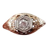 Vintage Art Deco 14k .16 carat diamond solitaire filigree engagement ring, size 6-1/2