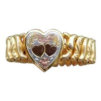 Vintage gold filled expansion stretch sweetheart bracelet with multi color heart detail signed Pitman & Keeler American Queen, adjustable