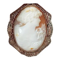 Vintage Art Deco 14K white gold filigree Flora cameo brooch pin pendant necklace