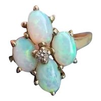 Vintage 10k gold opal and diamond cluster ring, size 7-1/2, maker marked Tannenbaum Jewelry Mfg