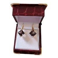 Modern estate 14k gold diagonally set square cut smoky quartz lever back drop pierced earrings