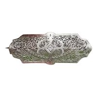 Antique Art Deco 14k white gold and platinum diamond filigree brooch pin with original folding bail to wear as pendant