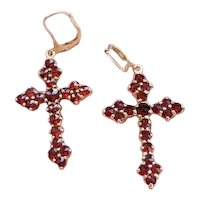 Modern estate 14k gold pierced rose cut garnet cross earrings, lever back drops