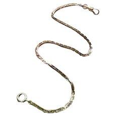 """13"""" vintage Art Deco gold filled pocket watch chain, signed S.O. Bigney, SOB"""