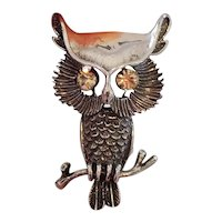 Adorable vintage mid century sterling silver golden rhinestone eyes owl bird figural brooch pin, signed Beau