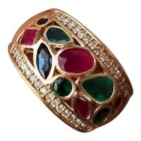 Modern estate 14k gold 1.75 ct fancy cuts ruby diamond sapphire and diamond wide band ring, size 7.5
