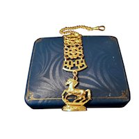 Antique Edwardian equestrian horse seal gold filled ornate pocket watch fob, maker signed JM Fisher, patent dated 1908