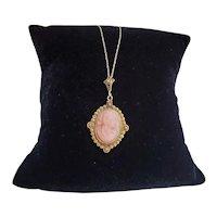 Antique Edwardian 14k gold carved peach coral cameo lavalier cannetille drop pendant necklace