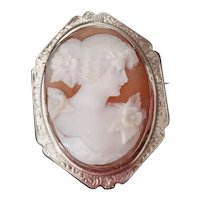 Vintage Art Deco 14K white gold filigree Flora cameo brooch pin pendant necklace signed Esemco Shiman