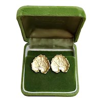 Stunning vintage estate 14k gold and diamond lily pad leaf pierced earrings with Omega backs, signed Aletto & Company