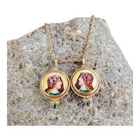 Antique Edwardian Egyptian Revival 14k enamel double portrait pendant necklace