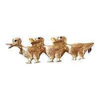 Vintage estate 14k gold three ducklings bird brooch pin black enamel anodized eyes, ducks in a row