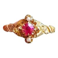 Antique Edwardian 10k gold synthetic ruby and seed pearl ring, size 8, signed Thier, Kraus & Beam (Pittsburgh, PA)