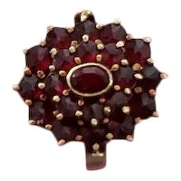 Vintage 1920s early Binder Brothers made in Germany 14k gold Bohemian garnet cluster halo statement ring, size 7