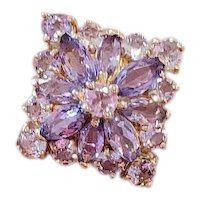 Modern 14k gold purple lavender amethyst Rose De France cluster ring, size 6-1/4
