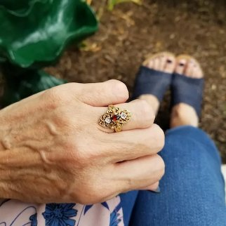Vintage estate 10k gold filigree marquise garnet and diamond elongated navette statement ring, size 5
