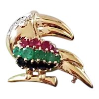 Vintage estate 14k gold toucan bird ruby sapphire emerald diamond brooch pin pendant