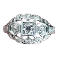 Art Deco platinum .50 ct tw diamond bombe cocktail ring, European and baguette cuts, statement ring, size 6